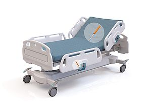 Hospital bed with SUSPA gas springs and dampers