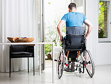 sit-stand wheelchair with SUSPA gas springs