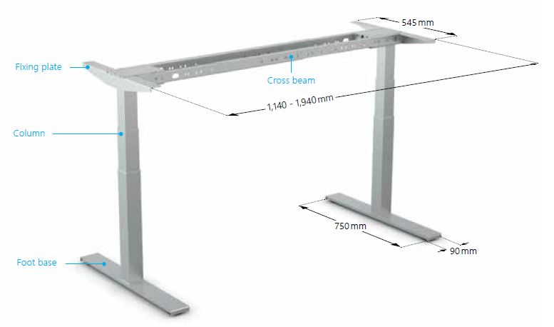 Adjustable table base with a variable cross beam