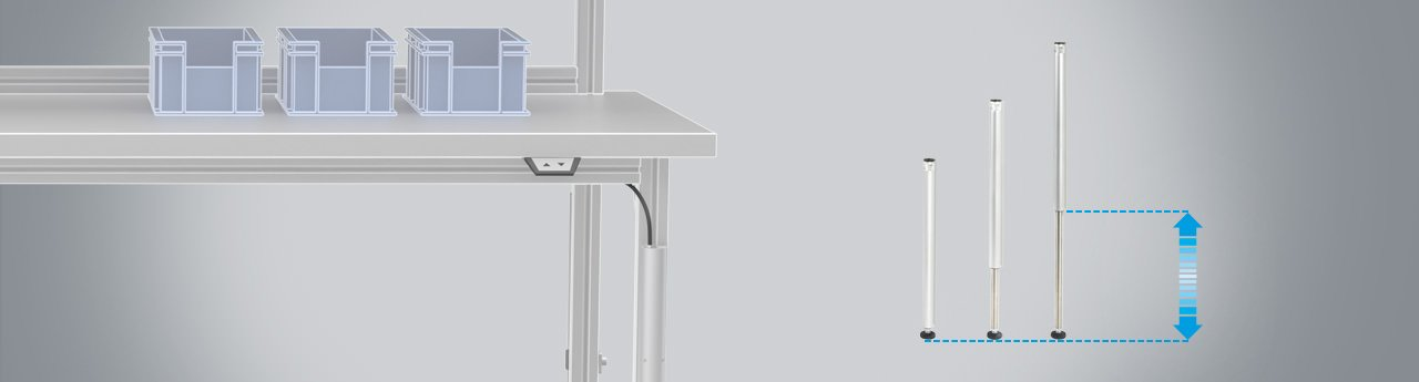 SUSPA electrical height adjustment for workbenches