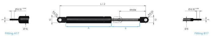16-1 Gas spring with clevis end fittings