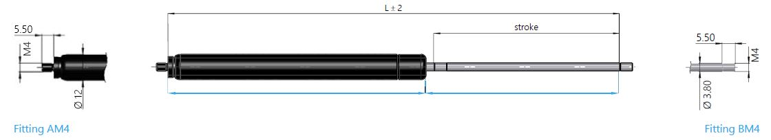 Gas spring 16-12 mit end fitting thread